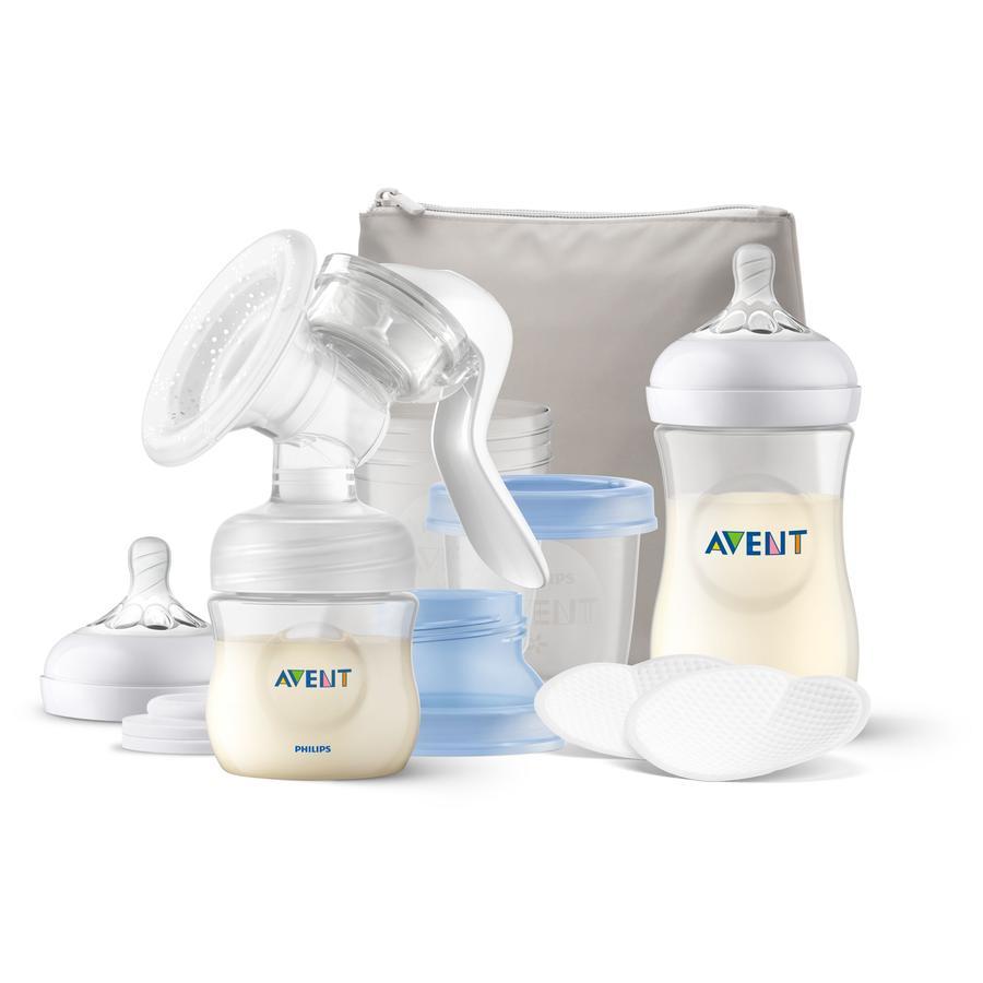Philips Avent Handmilchpumpe Stillset SCF430/16 mit Natural Motion Technologie, inkl. 125 ml & 260 ml Natural Flasche, 2x 6 Stilleinlagen, 3 Muttermilchaufbewahrbecher, Isoliertasche