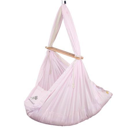 SCHMUSEWOLKE Cuna colgante bebé con colchón lana de oveja Rosa pastel