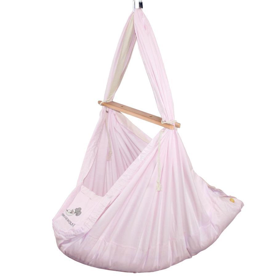 SCHMUSEWOLKE Baby wiegje van veren met matras van schapenwol Pastel Roze