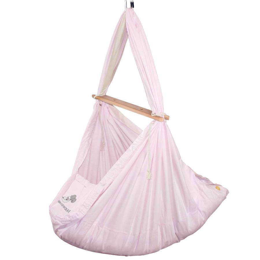 SCHMUSEWOLKE Culla di piume per bambini con materasso di lana di pecora rosa pastello
