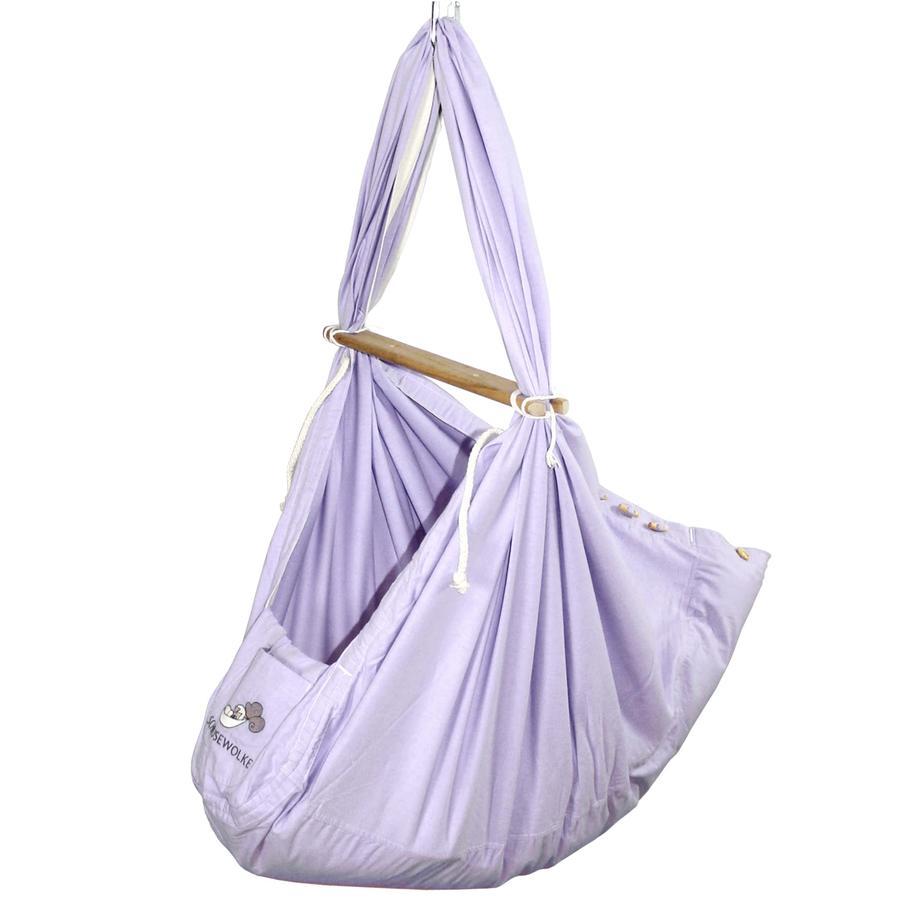 SCHMUSEWOLKE Baby Federwiege inklusive Schafwoll-Matratze Pastell Lavender