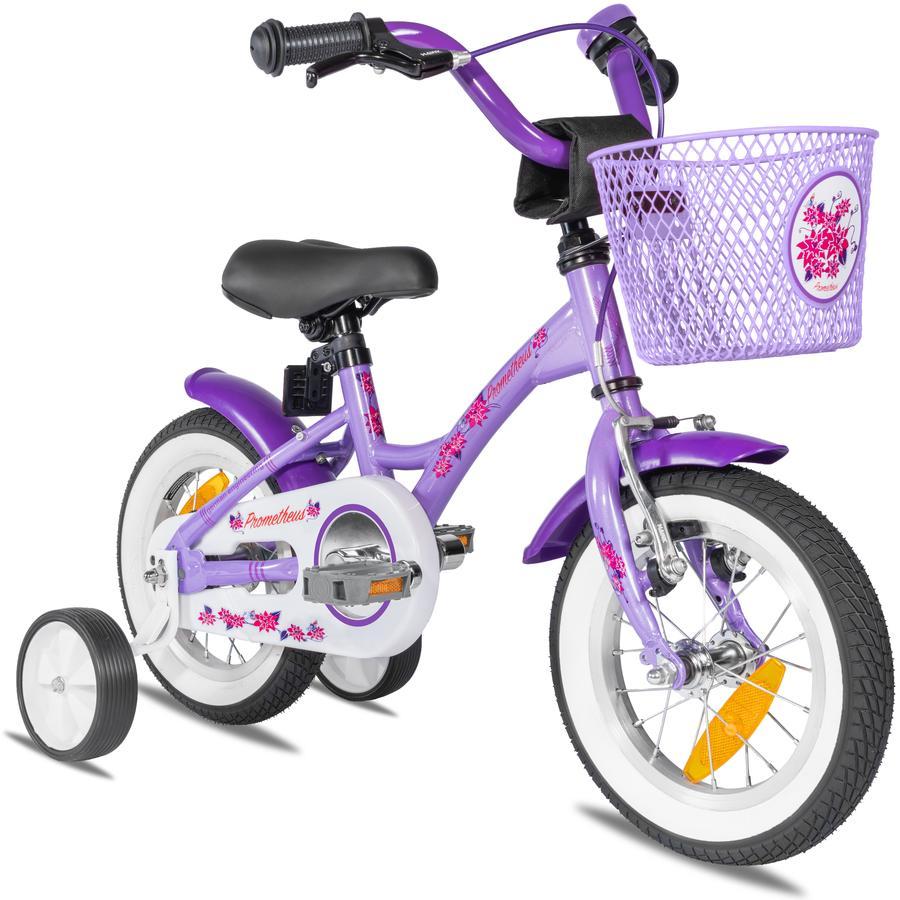 """""""PROMETHEUS BICYCLES ® Barncykel 12 """"""""från 3 år med träningshjul i lila och vitt"""