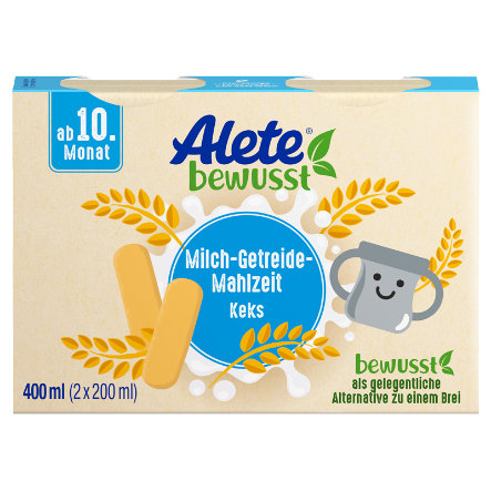Alete Milch-Getreide-Mahlzeit Keks 400 ml ( 2 x 200ml) ab dem 10. Monat
