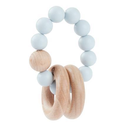 bieco Pierścień na ząbkowanie z silikonowym łańcuszkiem niebieski