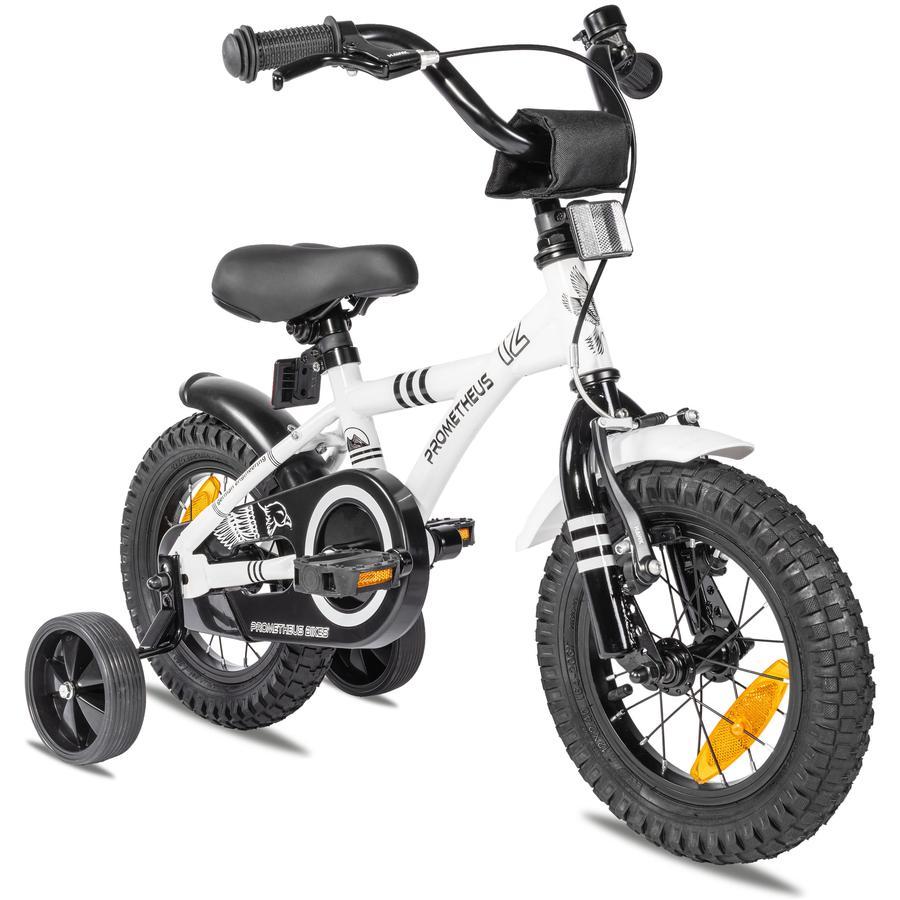 """""""PROMETHEUS BICYCLES ® Barncykel 12 """"""""i vitt & svart från 3 år med träningshjul"""""""