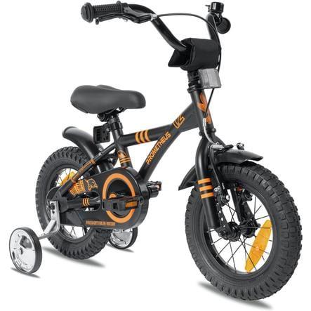 """""""PROMETHEUS BICYCLES ® Barncykel 12 """"""""i svart matt & orange från 3 år med träningshjul"""""""