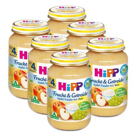 HiPP Bio Frucht & Getreide Apfel-Traube mit Reis 6 x 190 g