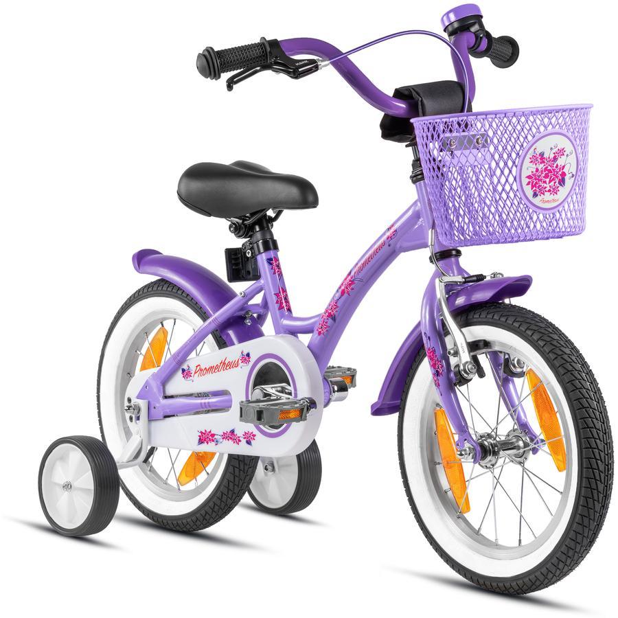 PROMETHEUS BICYCLES® Kinderfahrrad 14'' ab 3 Jahre mit Stützräder in Violett & Weiß