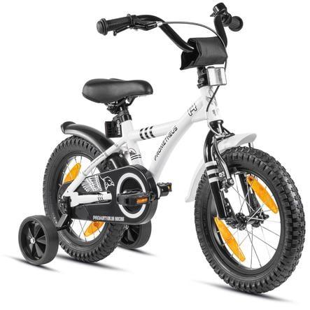 """PROMETHEUS BICYCLES® Kinderfahrrad 14"""" in Weiß & Schwarz ab 3 Jahre mit Stützräder"""