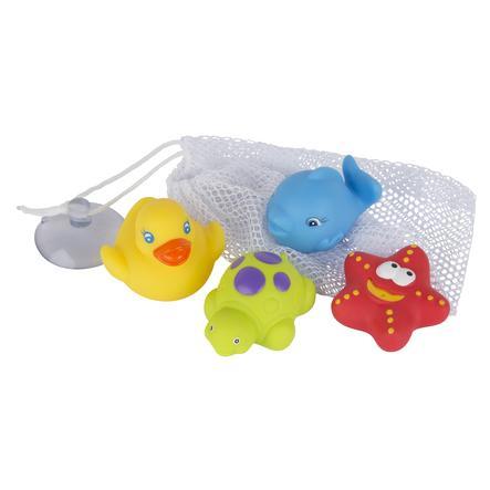 playgro Badespielzeug 4 Freunde mit Aufbewahrungsnetz