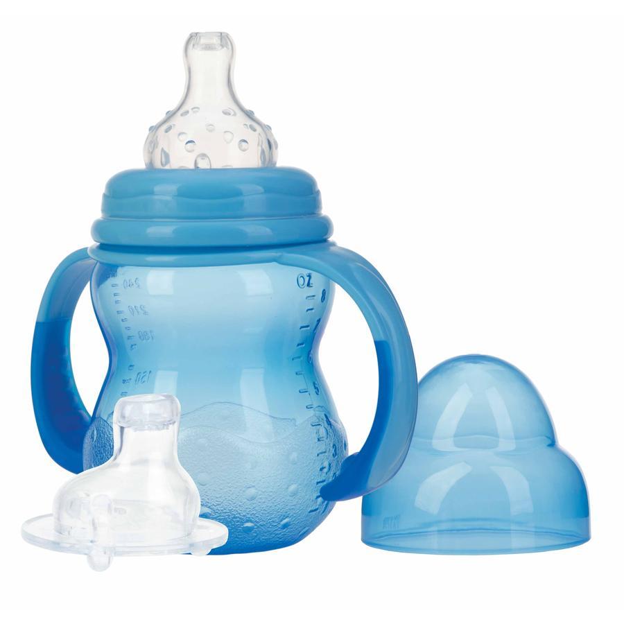 Nûby Weithals-Trinklernflasche mit Griff, 240 ml ab dem 3. Monat in blau