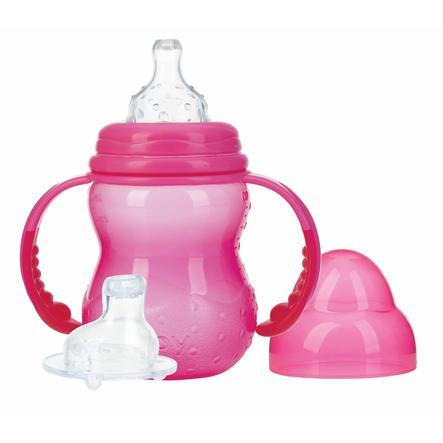 Nûby Weithals-Trinklernflasche mit Griff, 240 ml ab dem 3. Monat in pink