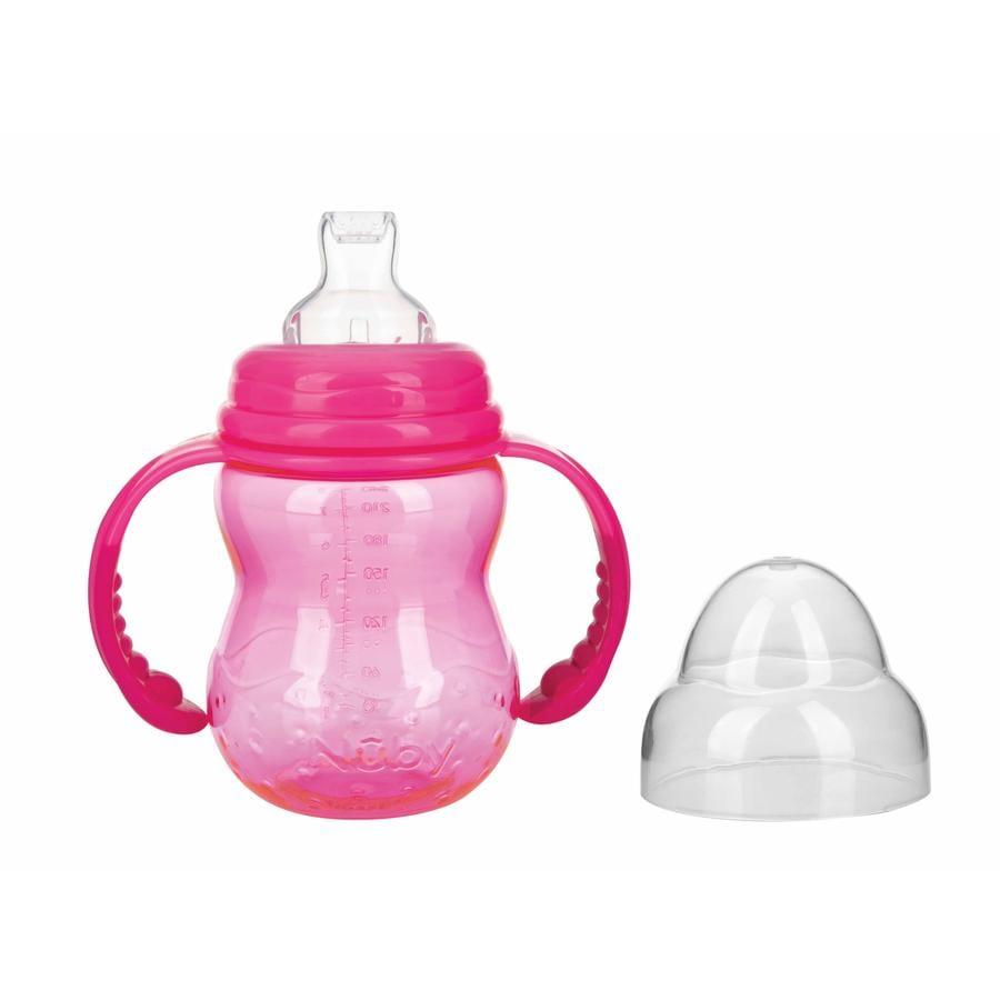 Nûby bottiglia tritan collo largo con manico 240 ml da 6 mesi in rosa