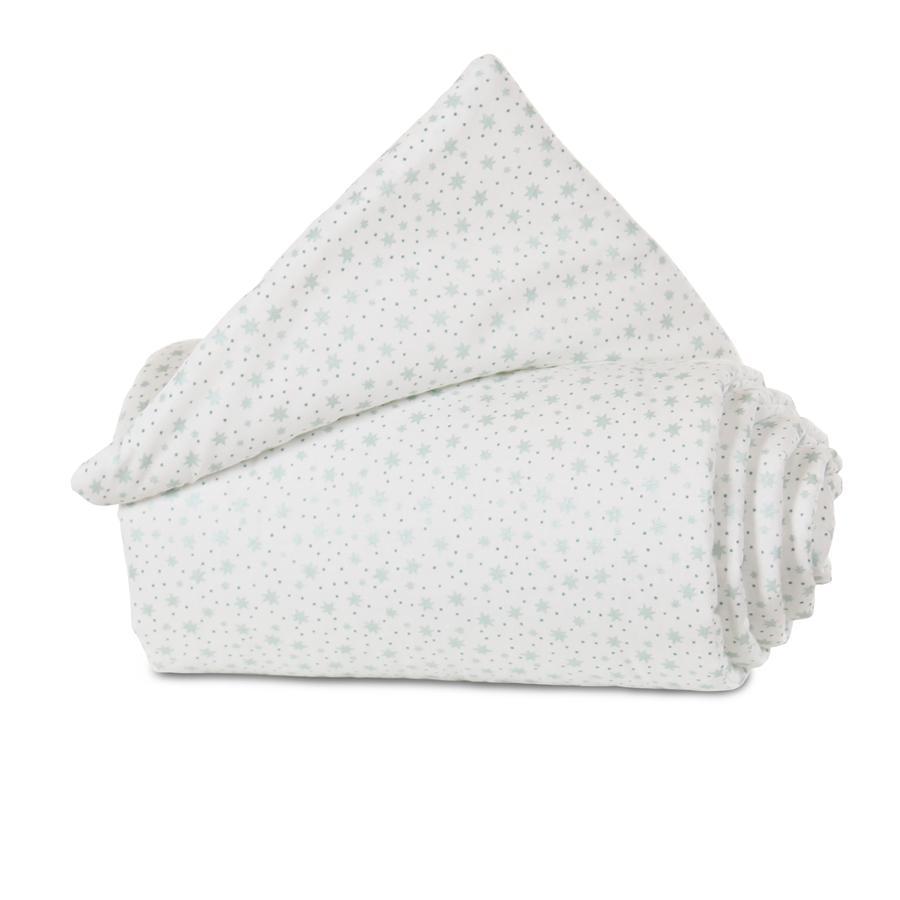 babybay Gitterschutz Organic Cotton für Verschlussgitter alle Modelle, weiß Glitzersterne mint