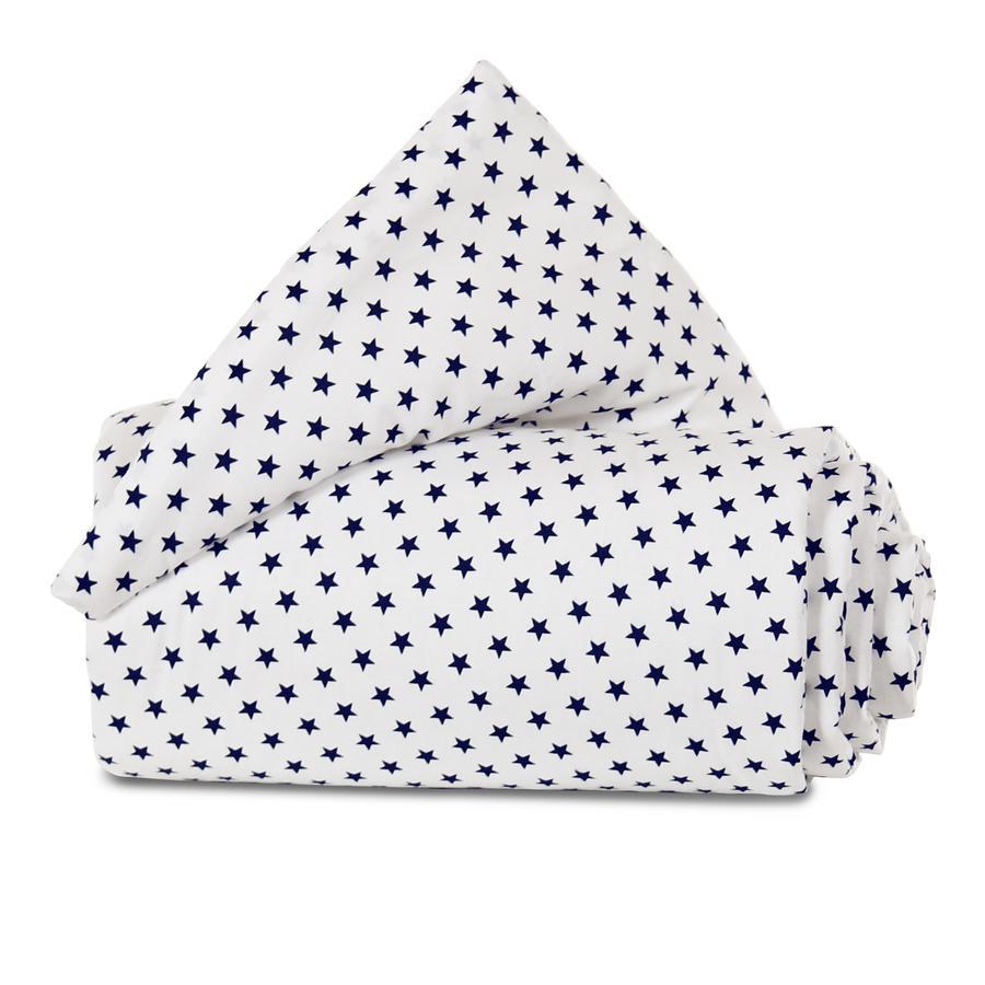 babybay Skydd av galler Organisk Cotton för låsning av galler alla modeller, vita stjärnor blått