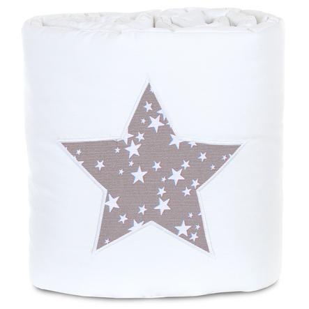 babybay® Tour de lit enfant piqué pour Original, blanc étoile taupe étoiles blanc 149x24 cm