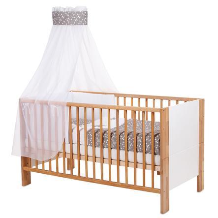 babybay® Kinderbetthimmel Piqué mit Band für Applikation Stern taupe Sterne weiß