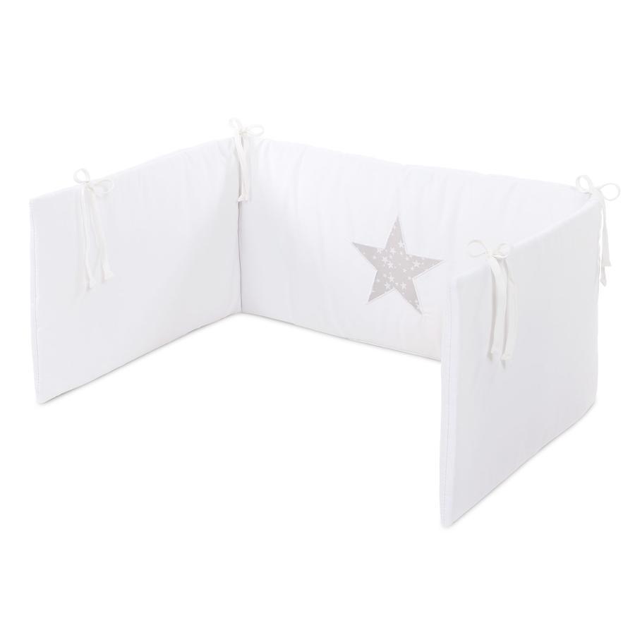 babybay® Kinderbettnestchen Piqué, weiß Applikation Stern perlgrau Sterne weiß