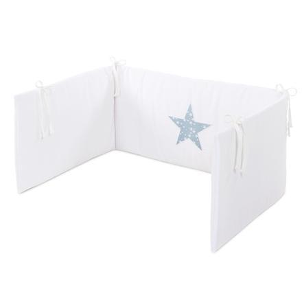 babybay® Kinderbettnestchen Piqué, weiß Applikation Stern azurblau Sterne weiß