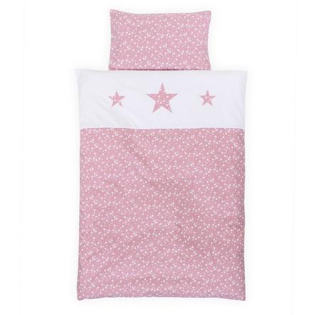 babybay® Kinderbettwäsche Piqué, beere Sterne weiß mit Applikation Stern 100 x 135 cm