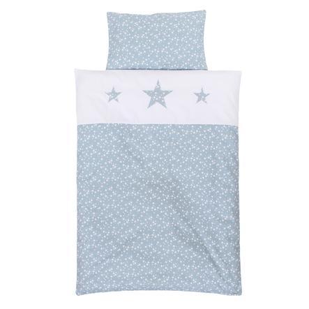 babybay® Kinderbettwäsche Piqué azurblau Sterne weiß mit Applikation Stern 100 x 135 cm
