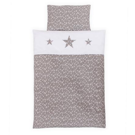 babybay® Kinderbettwäsche Piqué, taupe Sterne weiß mit Applikation Stern 100 x 135 cm