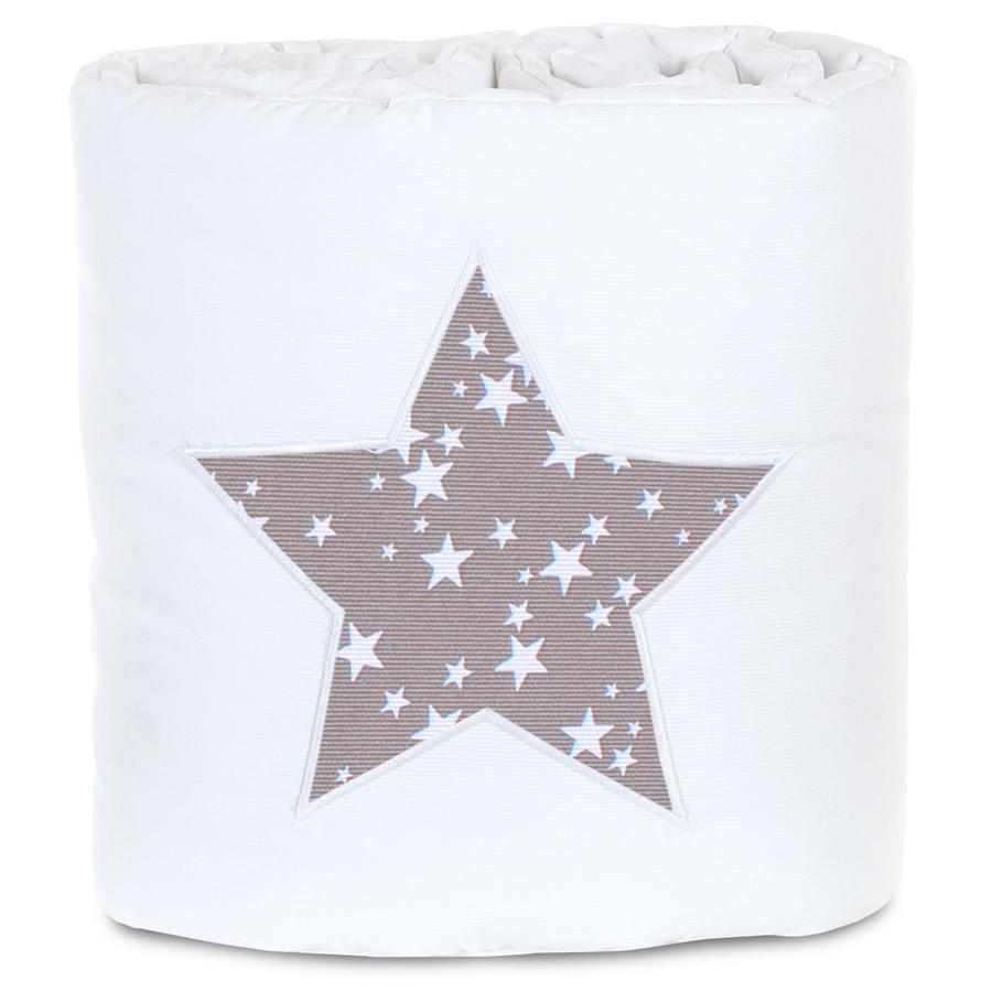 babybay® Nestchen Piqué passend für Modell Maxi, Boxspring, Comfort und Comfort Plus, weiß Applikation Stern taupe Sterne weiß