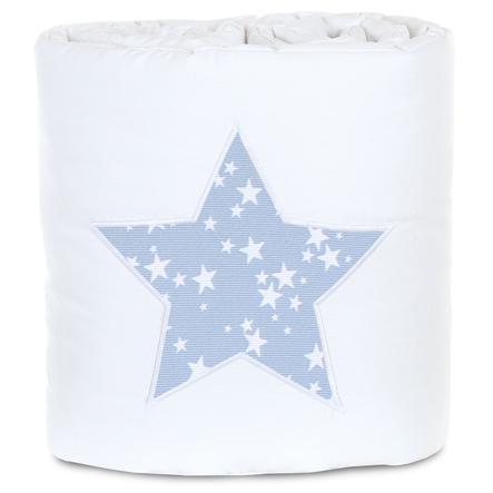 babybay® Nestchen Piqué passend für Modell Maxi, Boxspring, Comfort und Comfort Plus, weiß Applikation Stern azurblau Sterne weiß