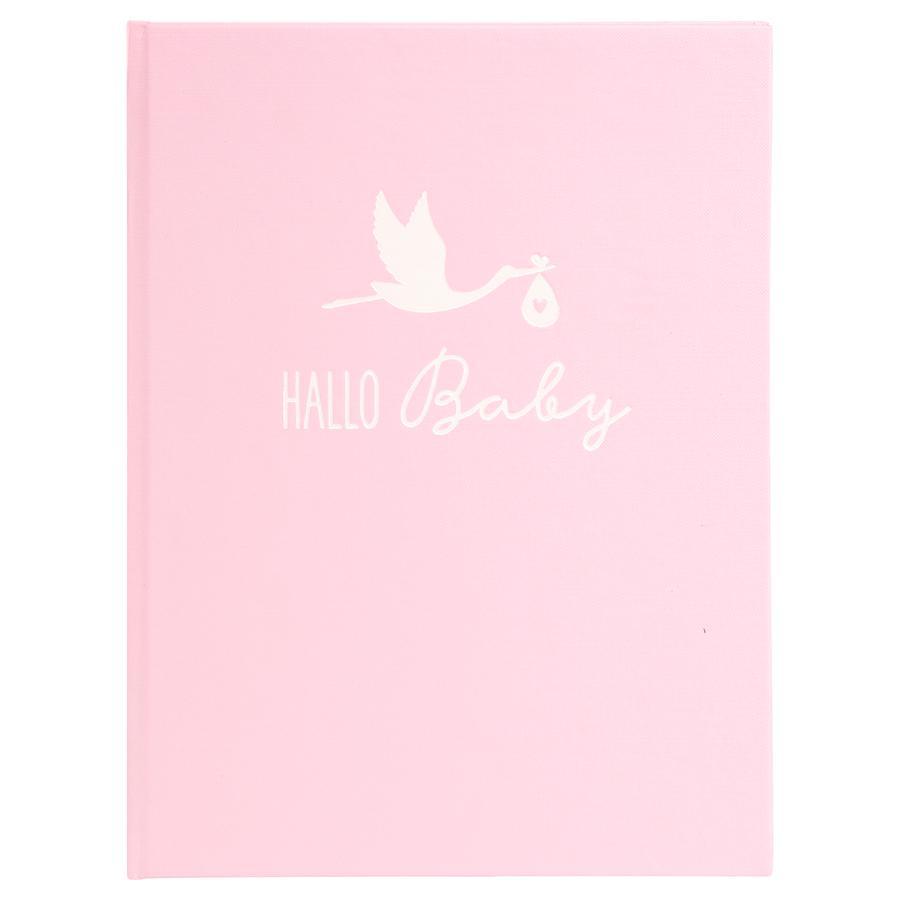 goldbuch Baby dagbog stork lyserød