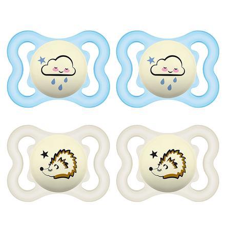 MAM Sugga Supreme Night Silikon, 0-6 månader 4 stycken moln/ igelkott i blått/beige