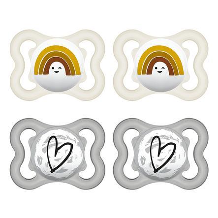 MAM Sugga Supreme silikon 0-6 månader, 4 stycken regnbåge/hjärta i grått/beige