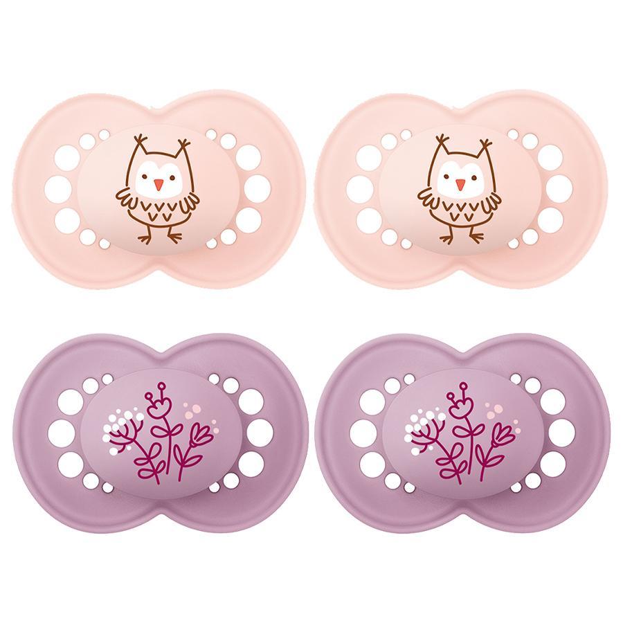 MAM Original Elements silicone, 6-16 mois, 4 pièces hibou/fleur en rose/violet