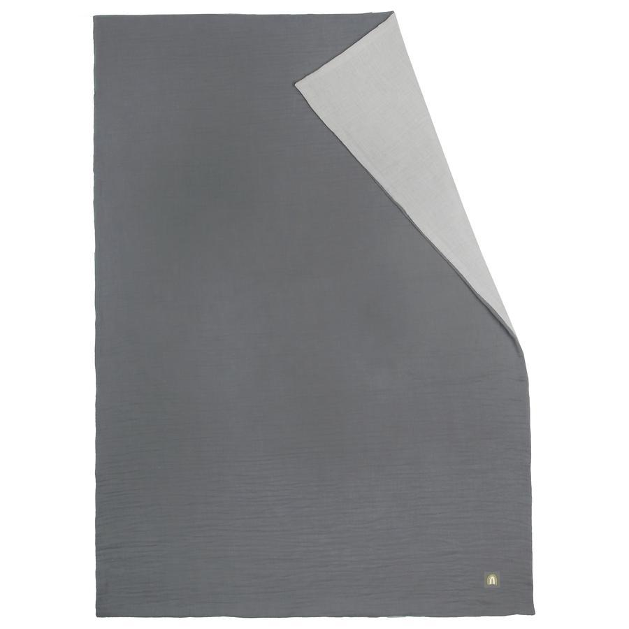odenwälder Couverture d'été à câliner en mousseline grise 70 x 100 cm