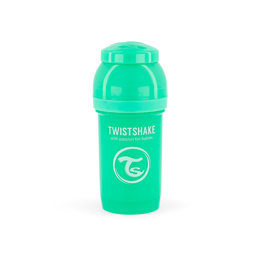 TWIST SHAKE  Dětská láhev proti kolice 180 ml v pastelově zelené barvě