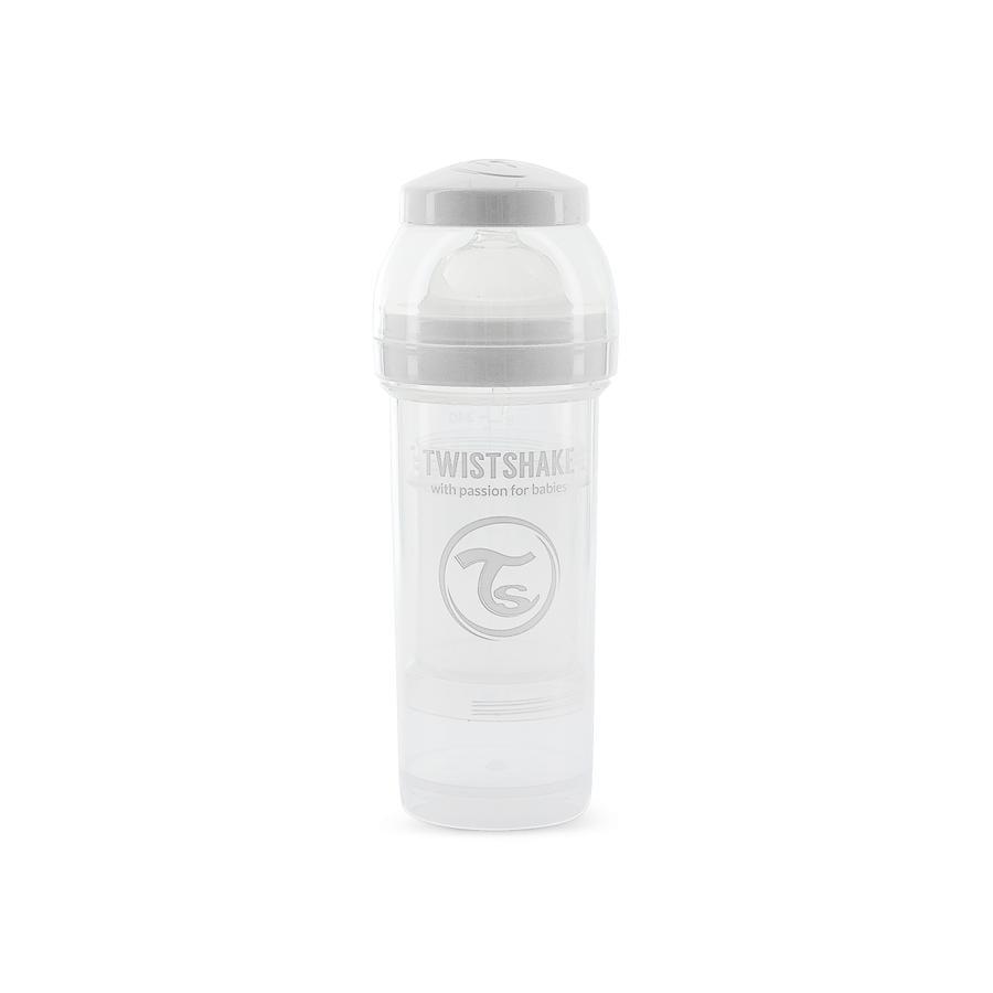 TWIST SHAKE  Dětská láhev proti kolice 260 ml v bílé barvě