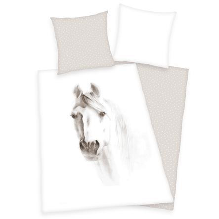 HERDING Beddengoed wit paard 135 x 200 cm