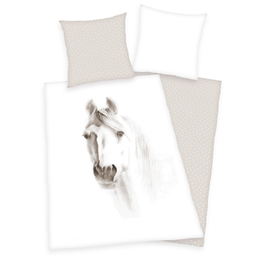 HERDING Parure de lit enfant cheval blanc 135x200 cm
