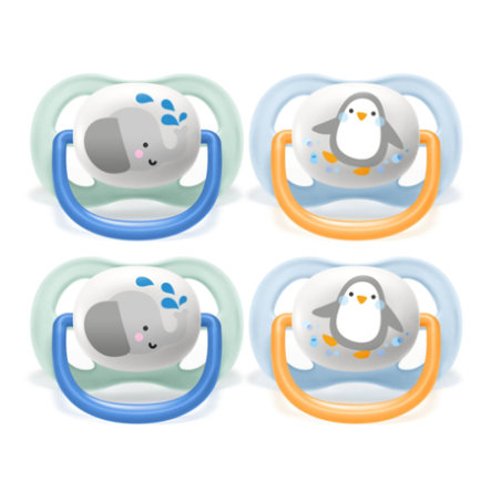 Philips Avent Soother ultra air SCF080 / 05 Collection Animals 0-6m Boy Elephant / Penguin in a double pak