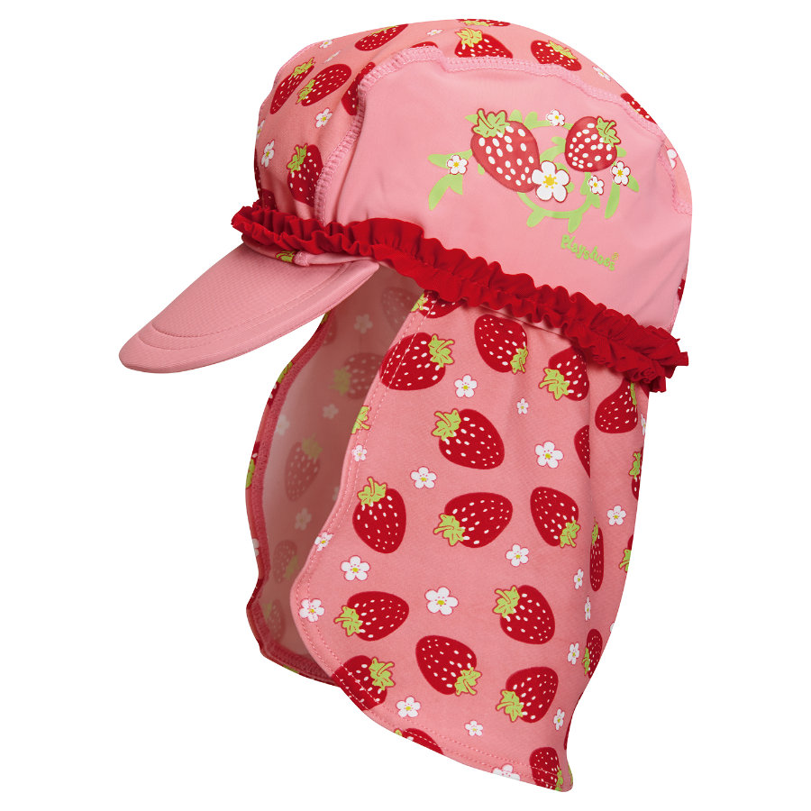 Playshoes Schirmmütze mit Nackenschutz Erdbeere rosa