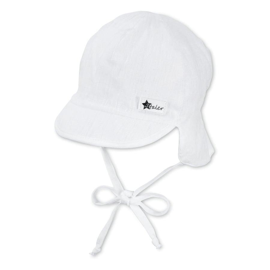 Sterntaler Peaked cap met nekbescherming wit