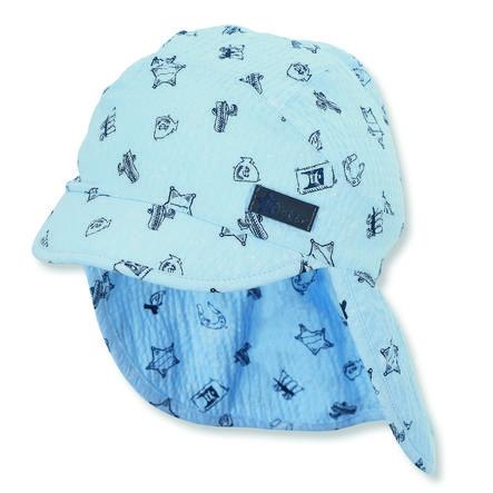 Sterntaler Gorra de pico con protección para el cuello azul claro