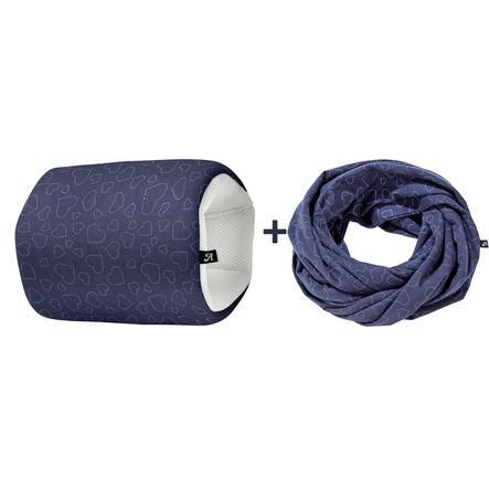Alvi ® Set kojící polštář na cesty a šátek na kojení Heart s Navy