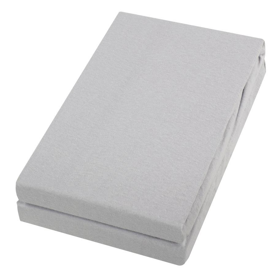 Alvi ® hoeslaken dubbelpak zilver/zilver 40 x 90 cm