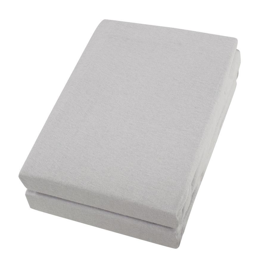 Alvi® Drap housse enfant argenté/argenté 70x140 cm lot de 2