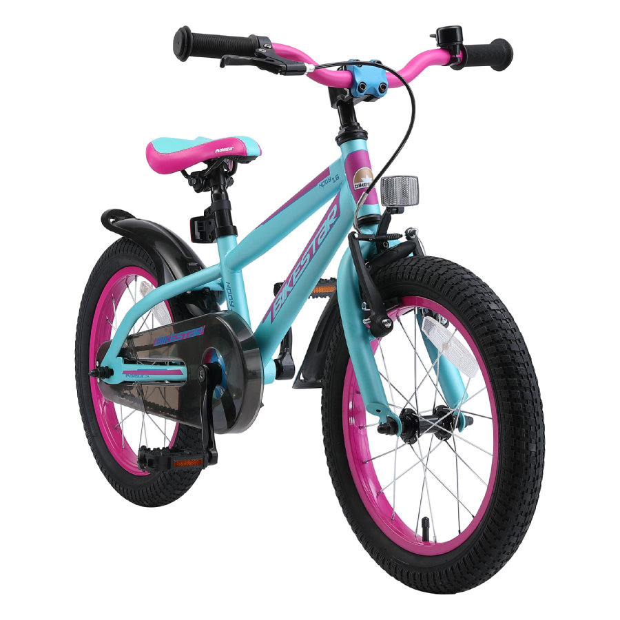 "bikestar premium kinderfiets 16"" Mountain Editie Turquoise & Berry"