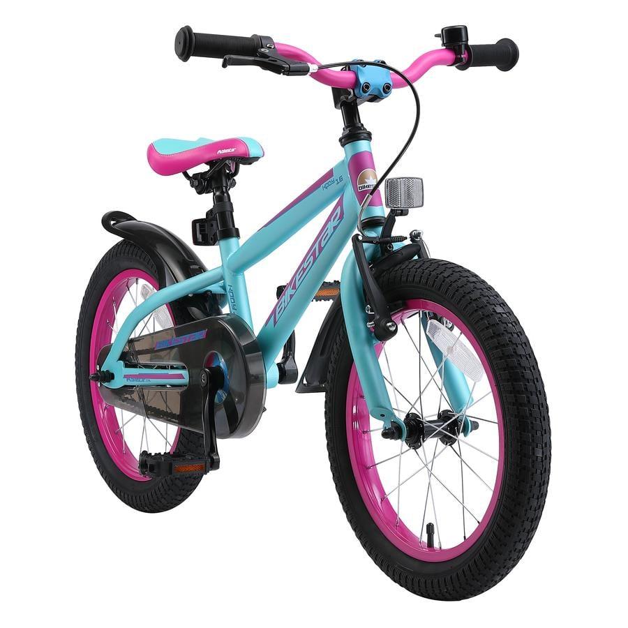 """bikestar premium lasten polkupyörä 16"""" Mountain Edition Turkoosi & marjainen versio"""