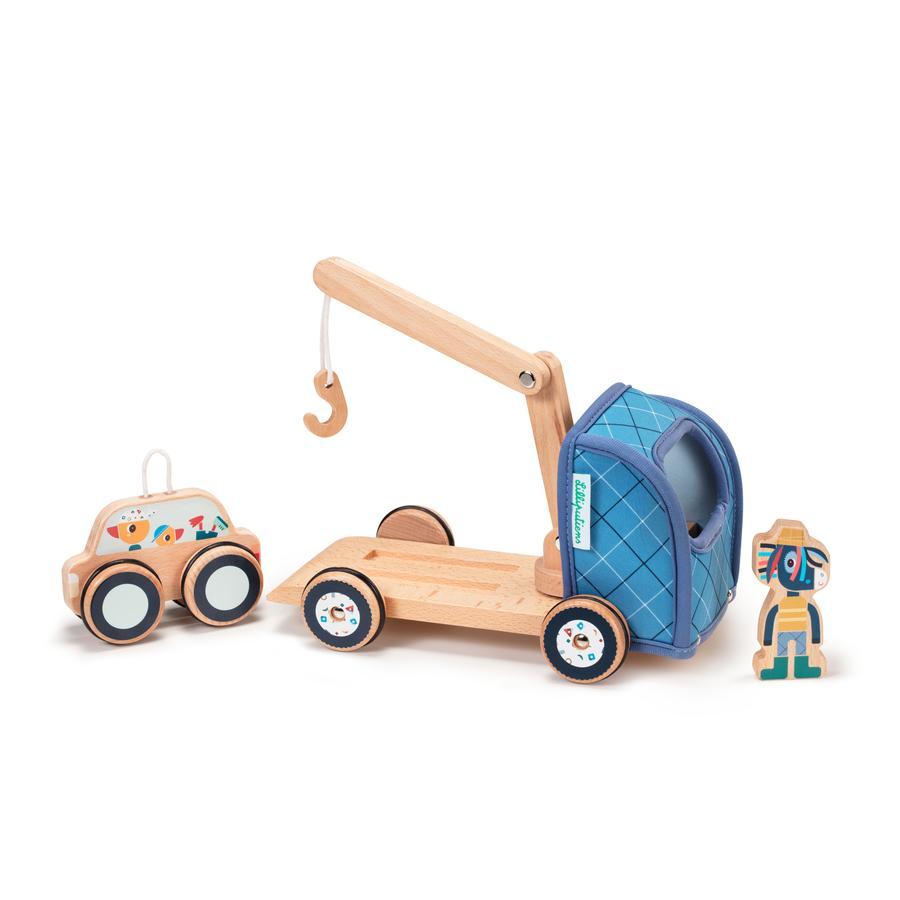 Lilliputiens IGNACE dragbil tillverkad av trä och neopren, från 24 månader och framåt
