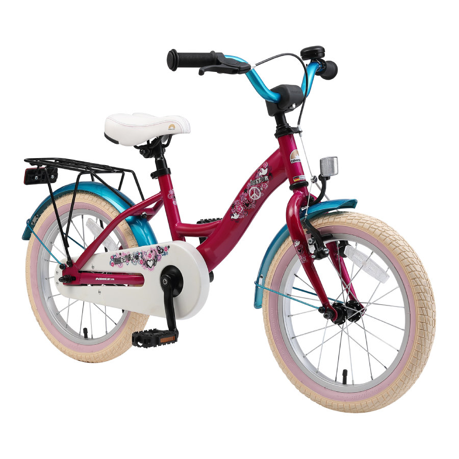 "bikestar premium sikkerhedscykel til børn 16"" Class ic Berry & Turquoise"