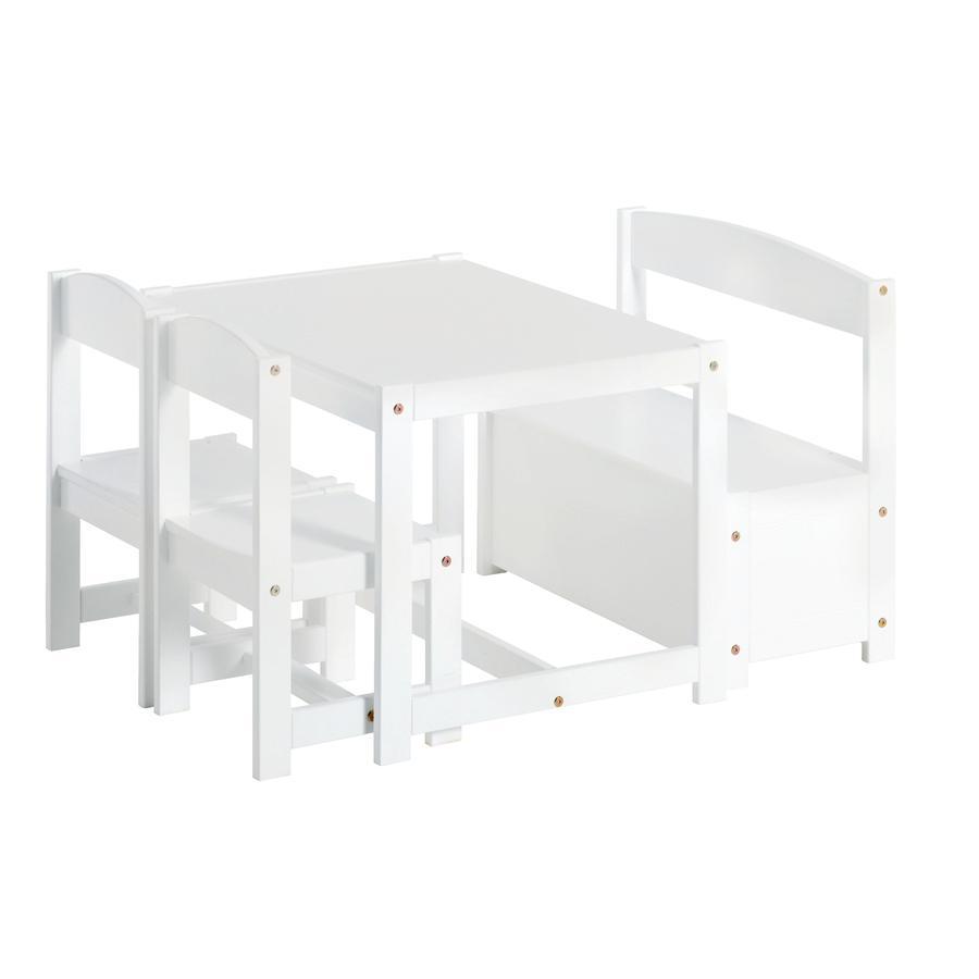 Hoppekids Ensemble table chaises banc enfant Mathilde bois blanc 4 pièces