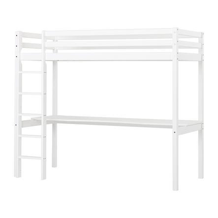 Hoppekids Lit mezzanine enfant Basic, plateau de bureau blanc 90x200 cm